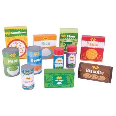 bigjigs cupboard groceries wooden play food set