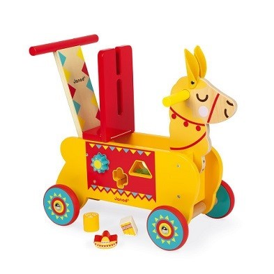 llama ride on toy by janod back raised