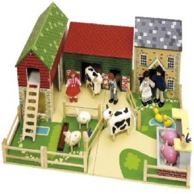old field farm with animals and farmers