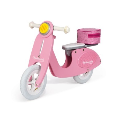 janod mademoiselle pink scooter wooden balance bike