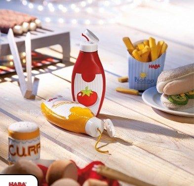 mustard bottle on table