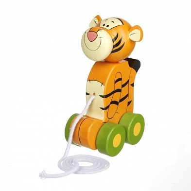 tigger pull along wooden toy by orange tree toys