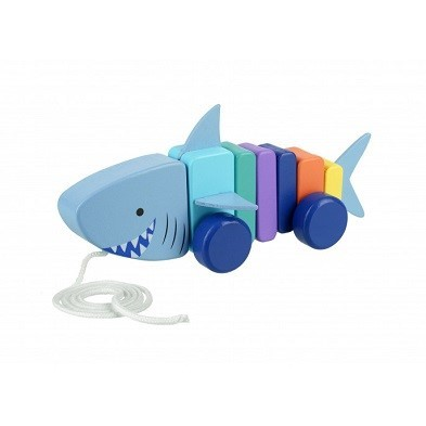 shark pull along wooden toy by orange tree toys