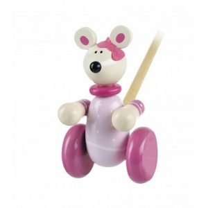 Orange Tree Toys Pink Mouse Push Along Wooden Toy