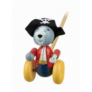 pirate dog push along wooden toy by orange tree toys