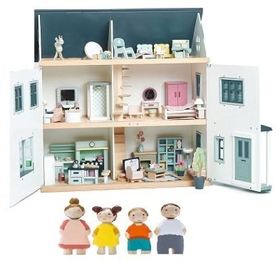 Dovetail house furnished wooden dolls house and doll family