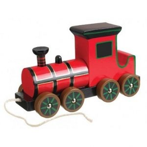 steam train pull along wooden toy by orange tree toys