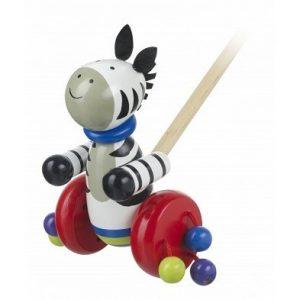 push along zebra wooden toy by orange tree toys
